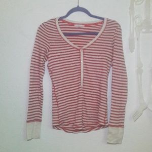 Victoria secret red striped long sleeve thermal